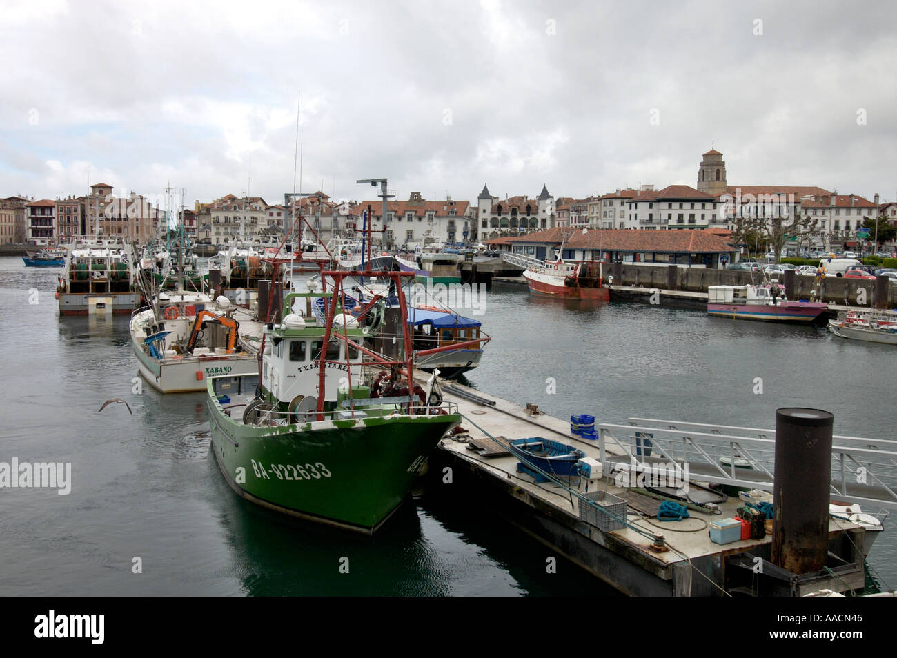 fishing port at a rainy day in St' Jean de Luz and in Ciboure Pyrenees Atlantiques France - Stock Image