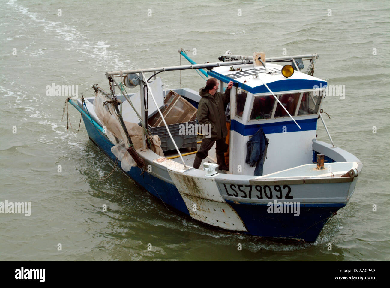 fisher boat in l Aiguillons Mer Vendée - Stock Image