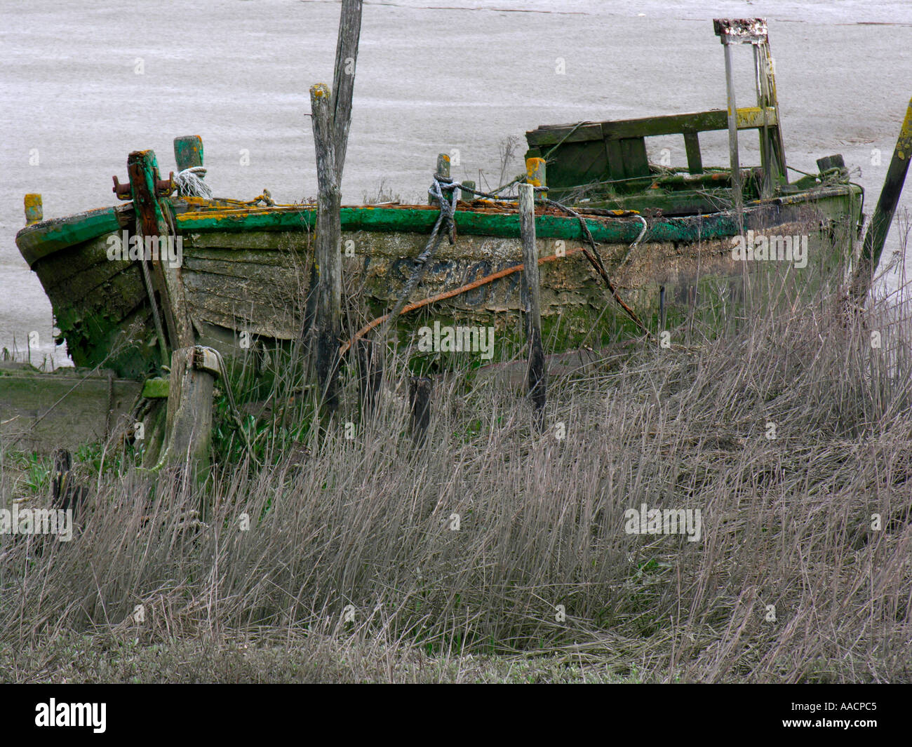 wrack near by fisher port in l Aiguillons Mer Vendée - Stock Image