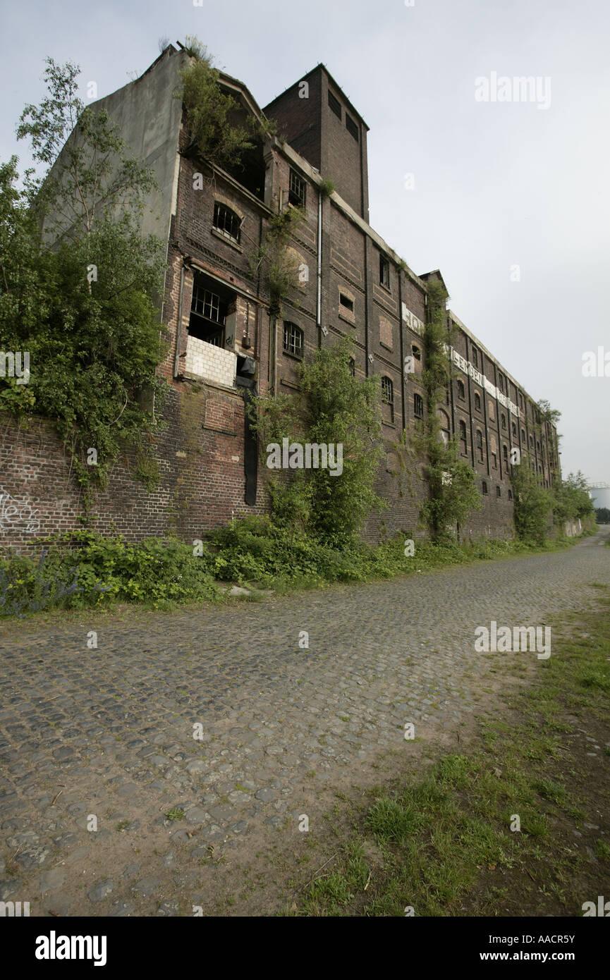 Industrial ruins, warehouse, near Krefeld-Uerdingen, Krefeld, North Rhine-Westphalia, Germany - Stock Image