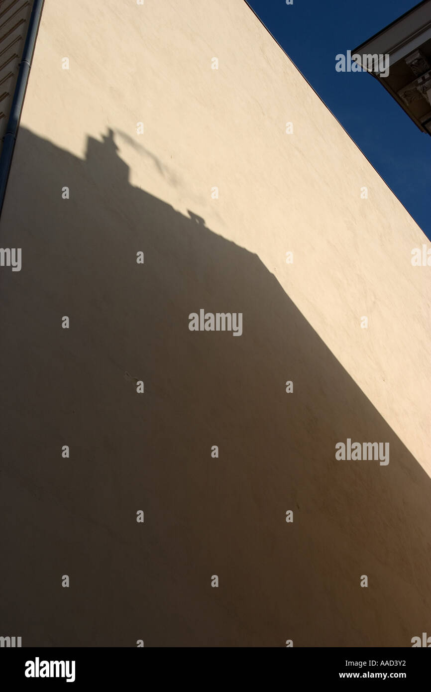 shadow on a house wall Stock Photo