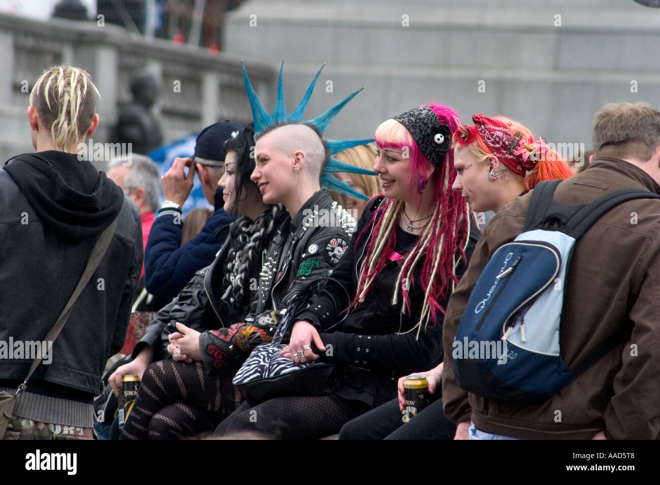 punk rockers during may day demonstration trafalgar