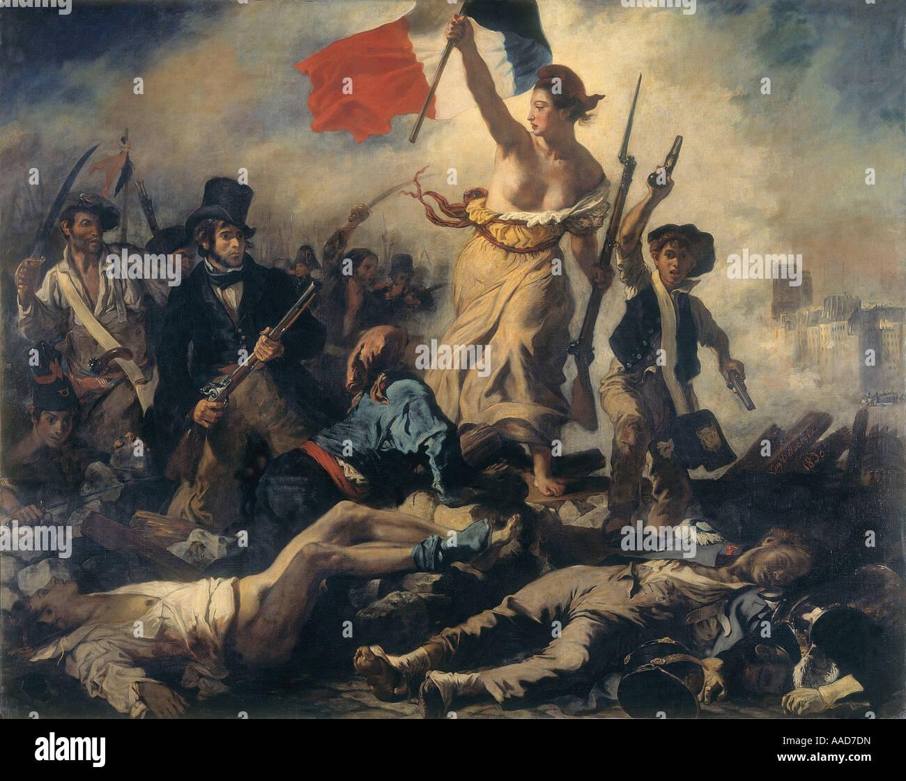 9FK 1830 7 27 A2 C D Delacroix Die Freiheit fuehrt das Volk Delacroix Eugene 1798 1863 Die Freiheit fuehrt das Volk Stock Photo