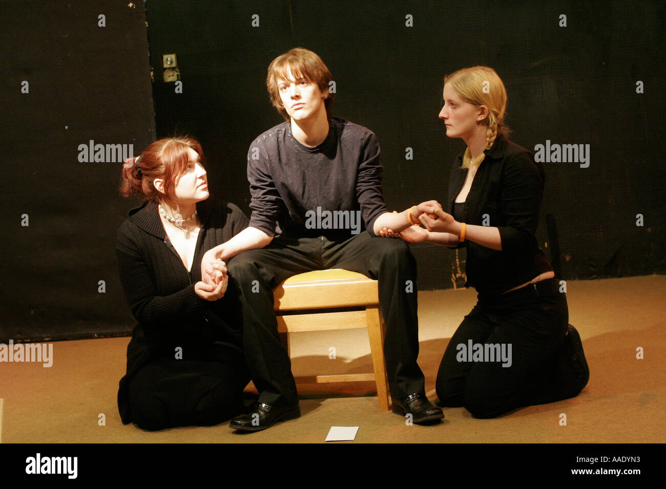 Sixth form college students in drama studio - Stock Image