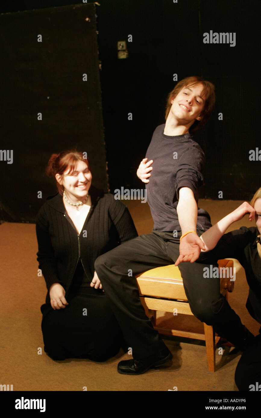 Sixth form college students in in drama studio - Stock Image