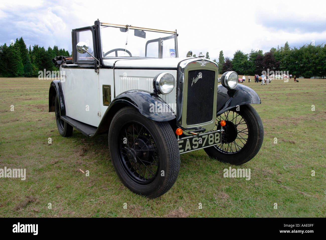 Austin 7 convertible car at a Vintage and veteran car show in Longbridge Birmingham near the old Austin factory - Stock Image