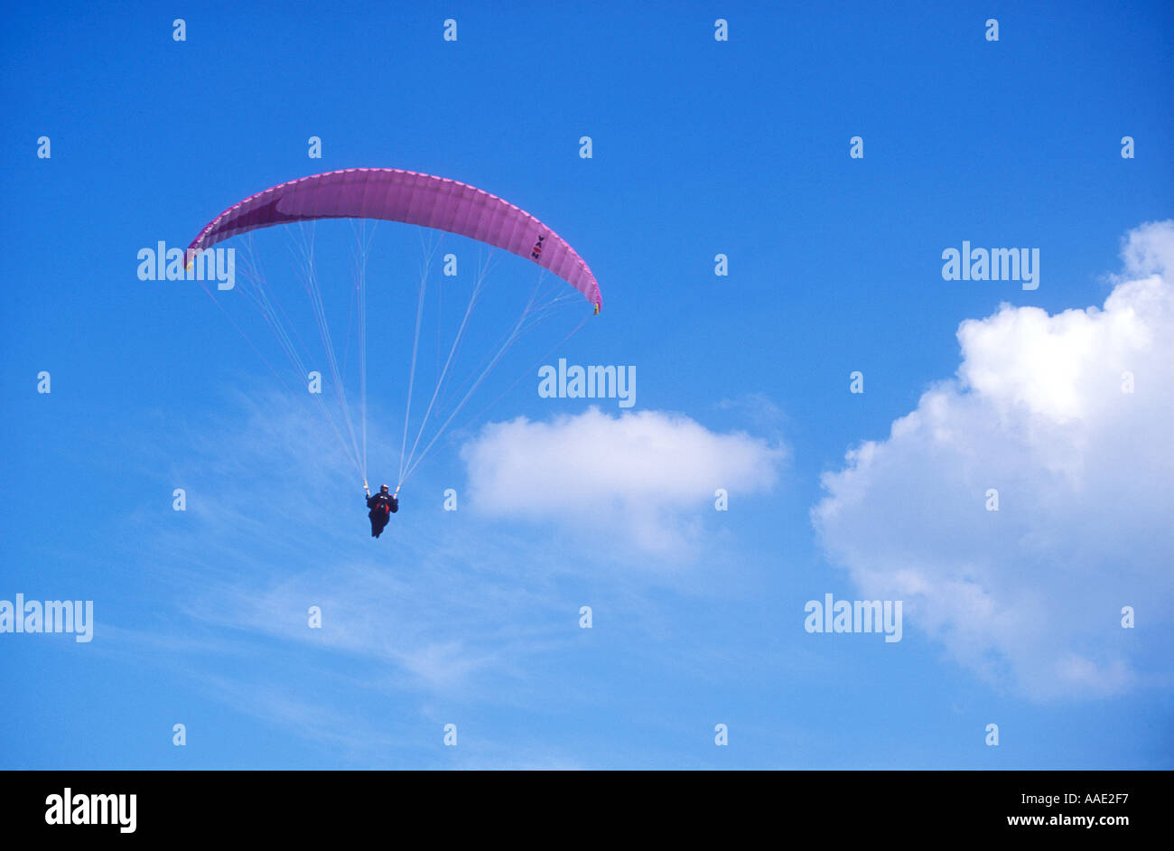 Paragliding on a sunny summers day with paraglider England United Kingdom UK Great Britain GB Europe - Stock Image
