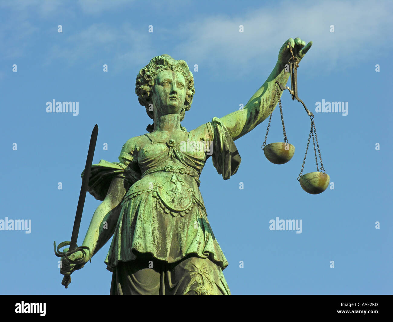 Frankfurt am Main The bronze figure of the Justice with the scales of justice and the sword Fountain of Justice Stock Photo