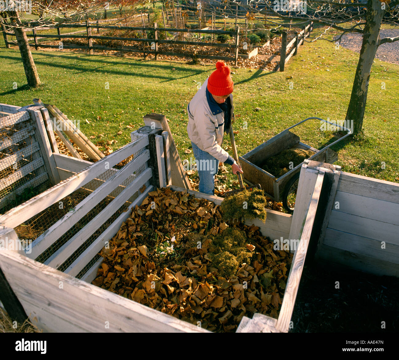 ADDING GRASS CLIPPINGS TO COMPOST PILE PENNSYLVANIA - Stock Image