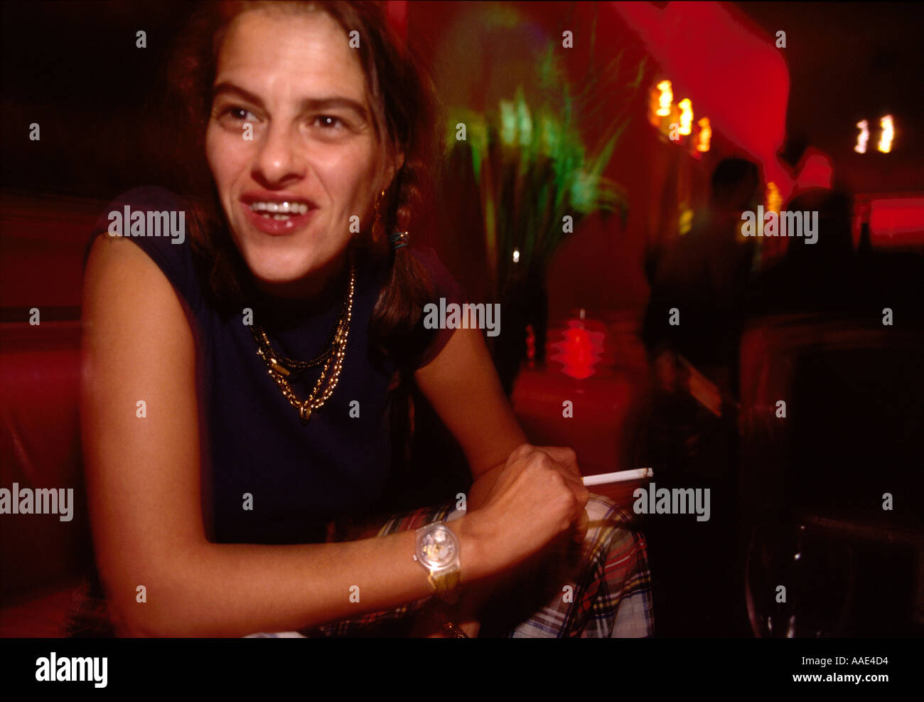 Artist Tracy Emin  in London club, England, UK Stock Photo