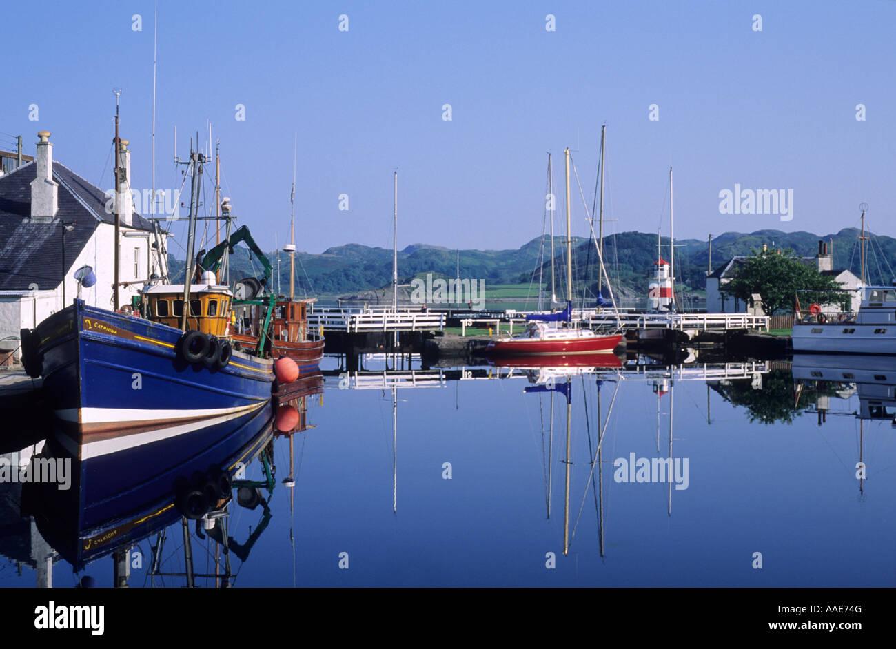 Crinan, first lock on Canal, Marina, boats, Argyllshire, west, western Scotland, UK, travel tourism, transport, Stock Photo