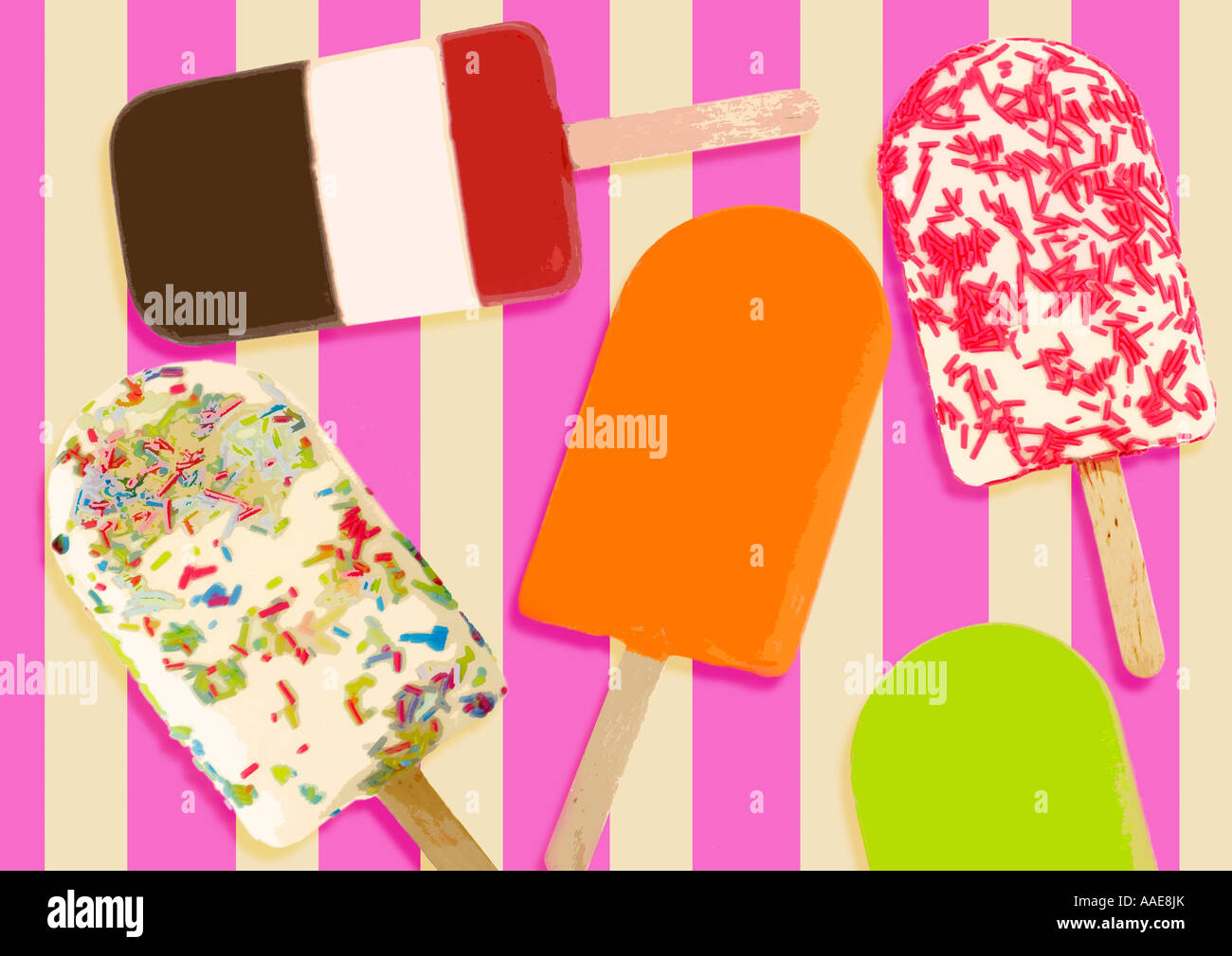Illustration of ice lollies on stripy background - Stock Image