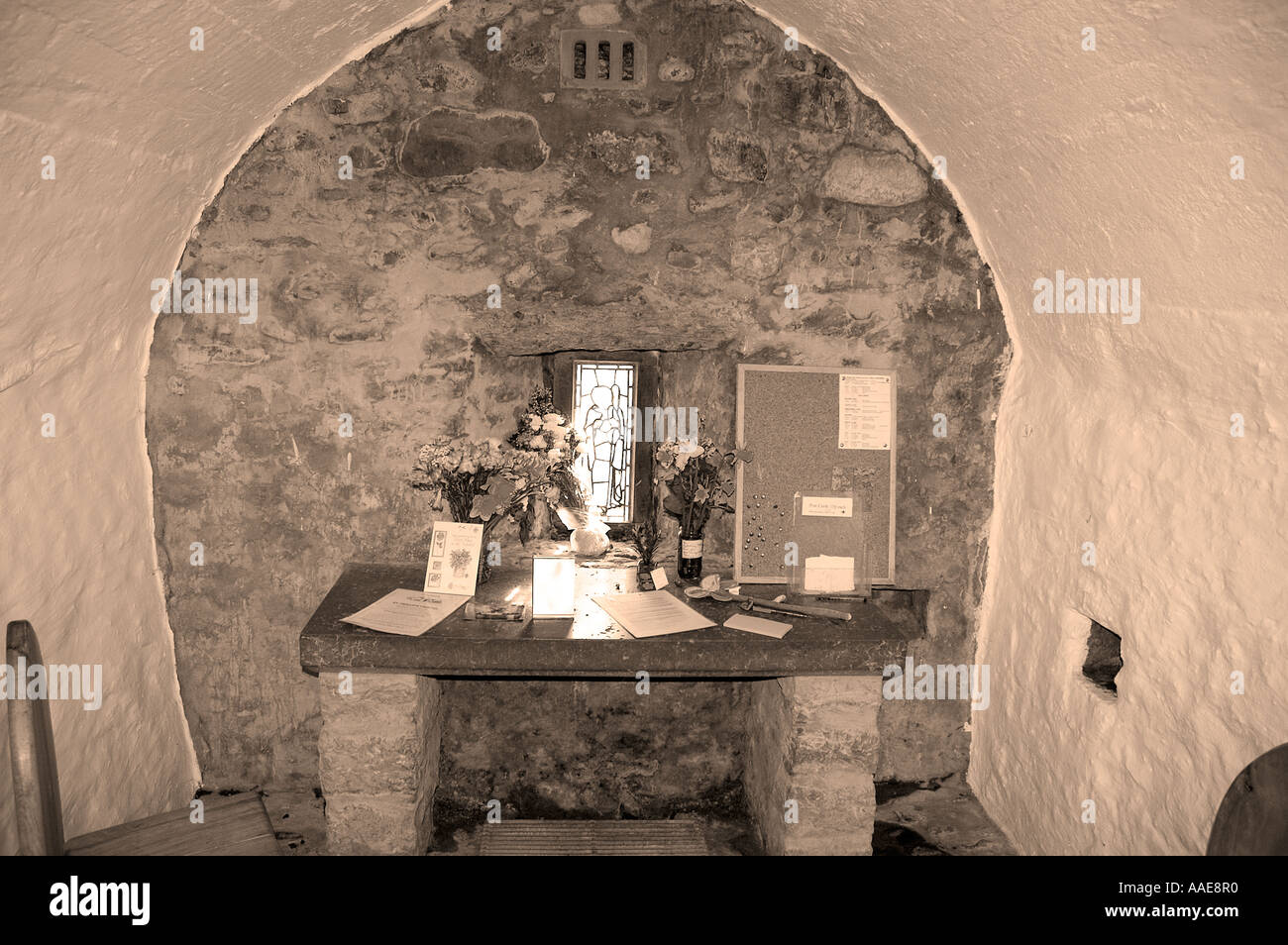 Interior, St Trillo's Chapel, Rhos on Sea, Colwyn Bay, North East Wales - Stock Image