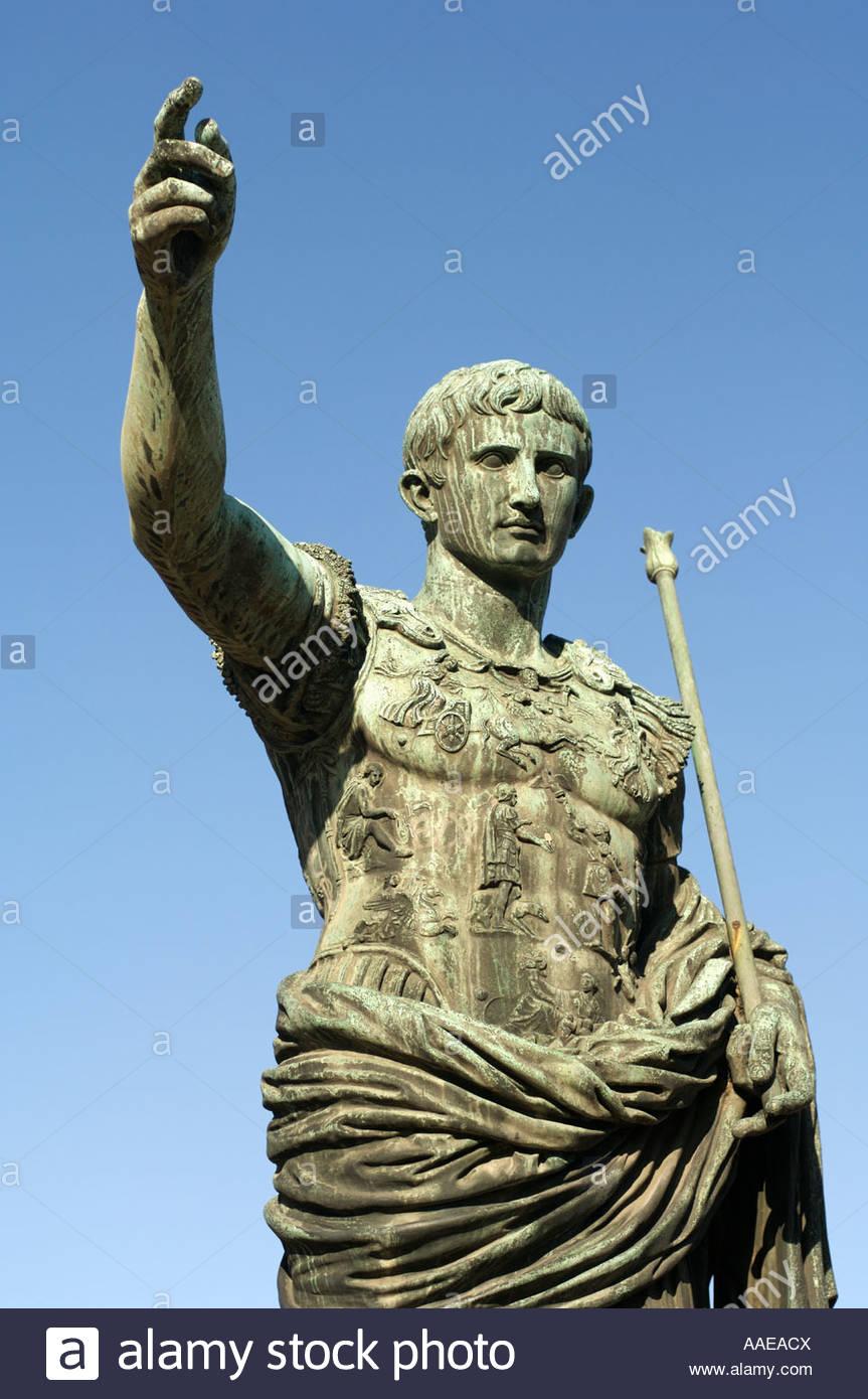 Bronze statue of Julius Caesar The Forum Rome Italy - Stock Image