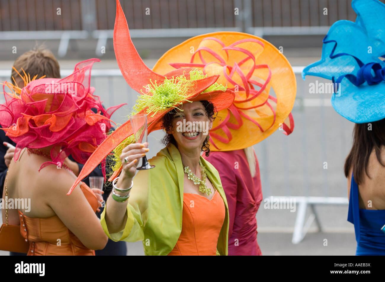 Women wearing extravagant hatsfashion on Ladies day at Royal Ascot 2007 - Stock Image