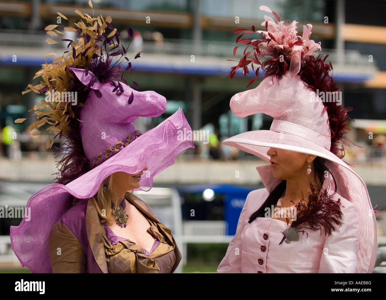 Extravagant fashion at Royal Ascot - Stock Image