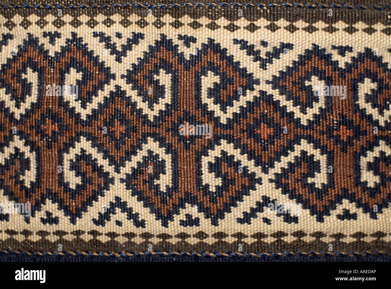 Detail of woollen weaving from northern Persia with geometric motifs - Stock Image