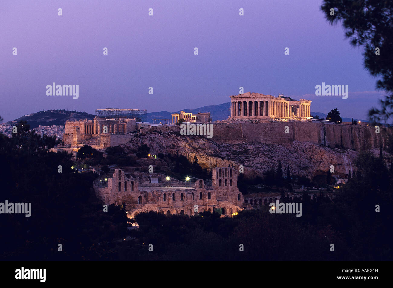 Acropolis by night view from Philopappos Hill Stock Photo