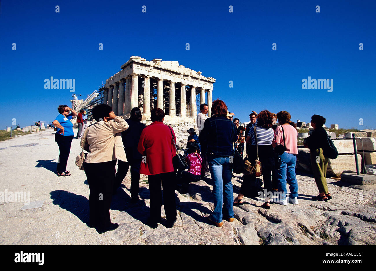 Visitors Parthenon Acropolis Athens Greece Stock Photo
