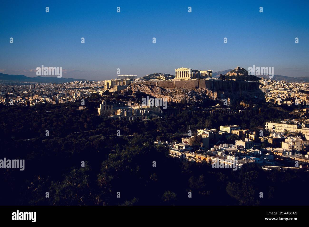 Acropolis View fom Philopappos Hill Athens Greece Stock Photo