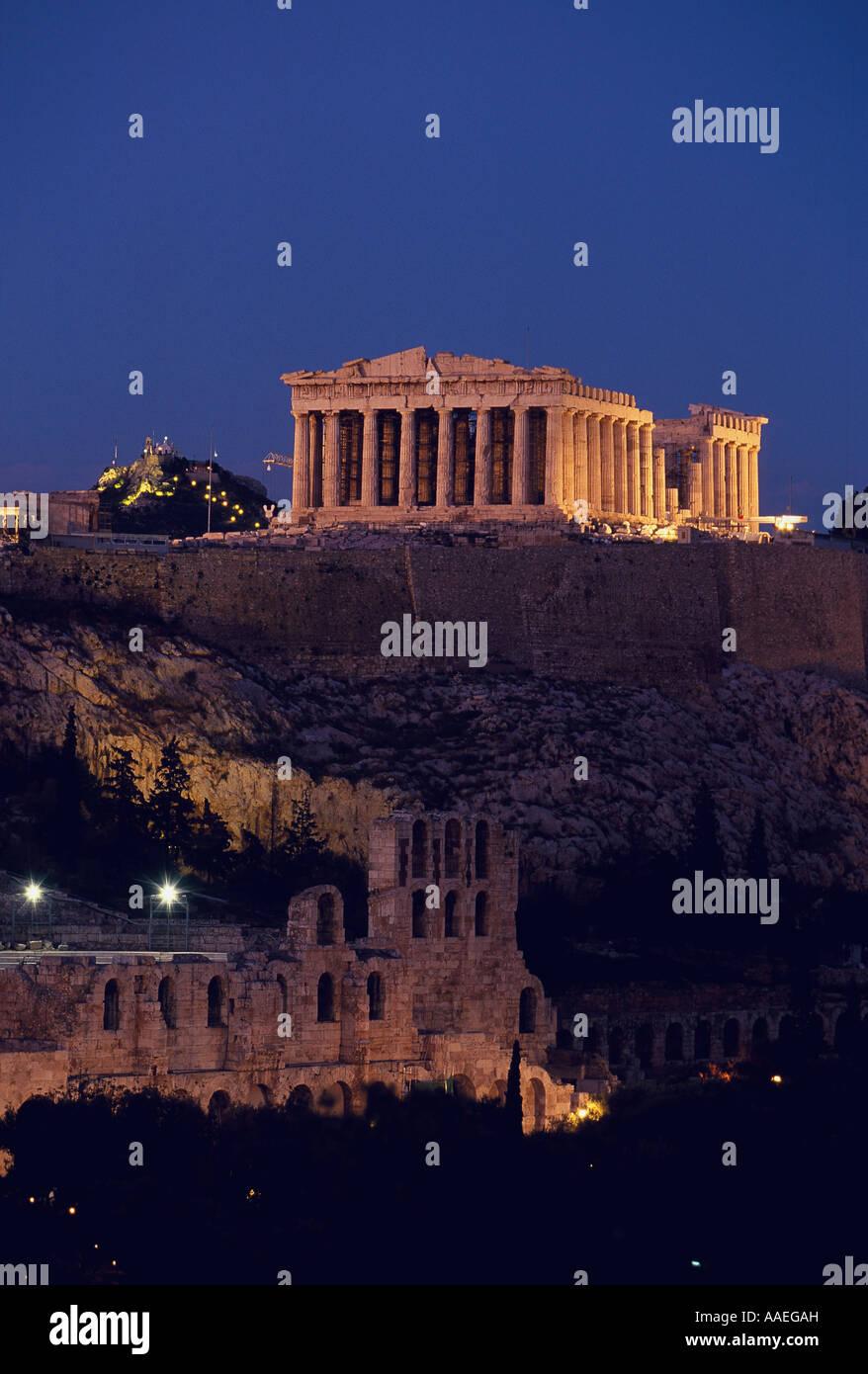 Parthenon Acropolis view from Philopappos Hill Athens Greece Stock Photo