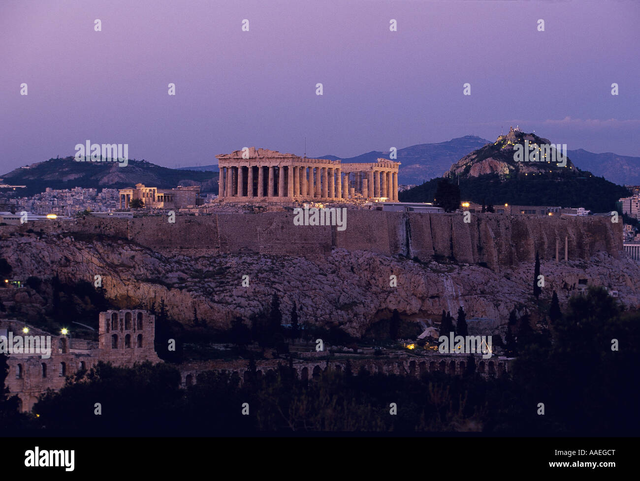 Acropolis by night view from Philopappos Hill Athens Greece Stock Photo