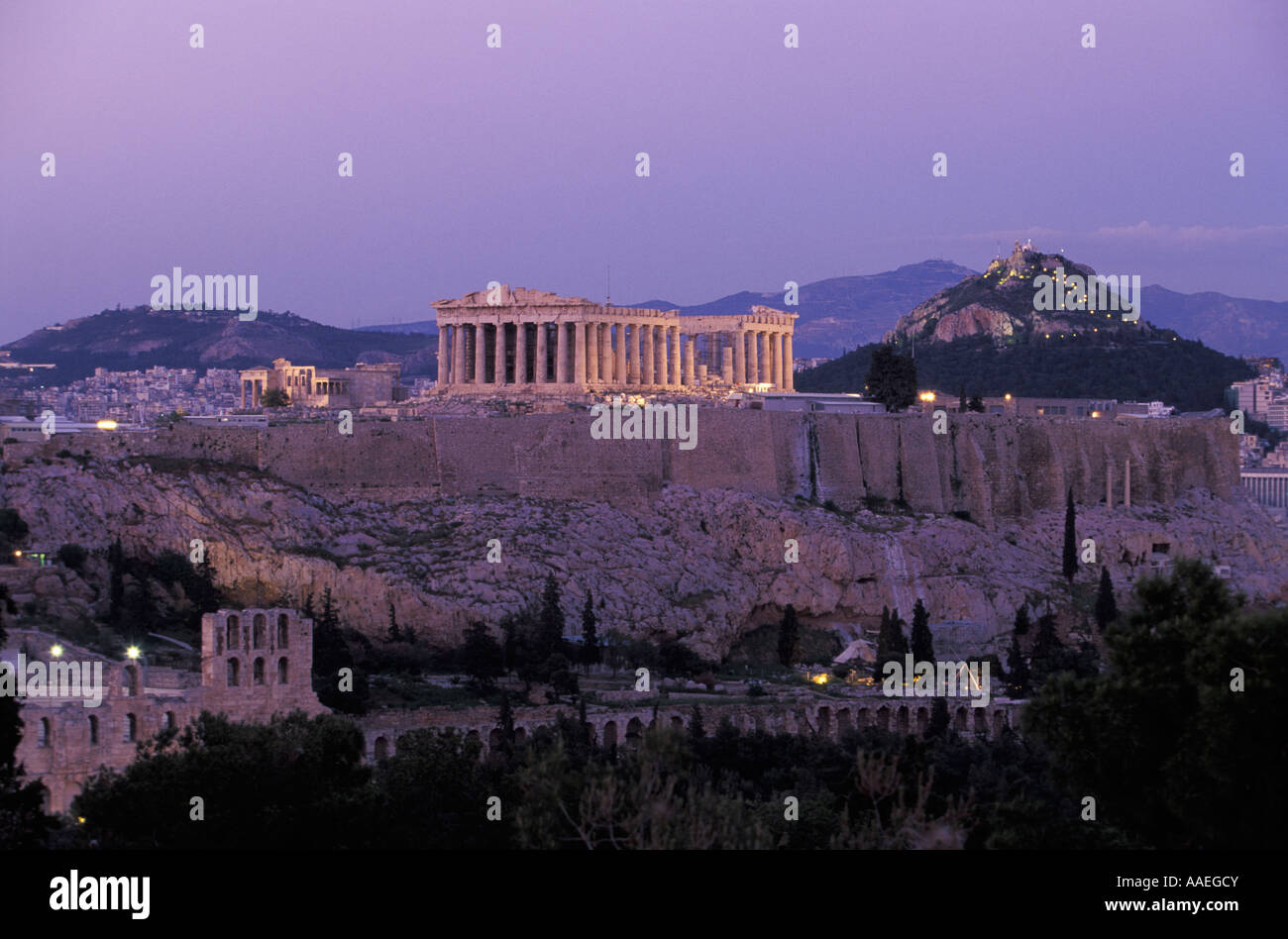 Parthenon Acropolis Lycabetus Hill view from Philopappos Hill Stock Photo