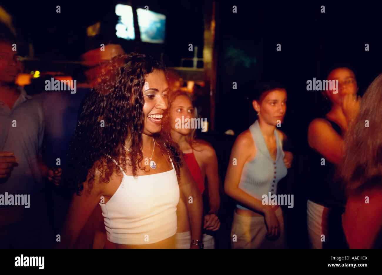 Girl dancing in La Pirata Nightclub Iracema Fortaleza Ceara Brazil Stock Photo