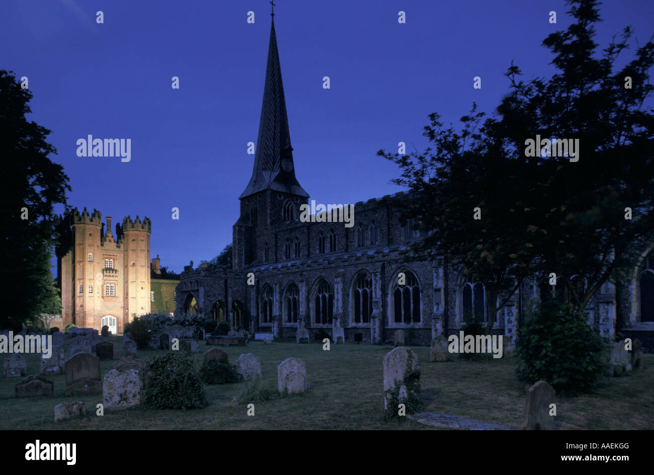 Deanery Tower and St Mary s Hadleigh Suffolk England - Stock Image