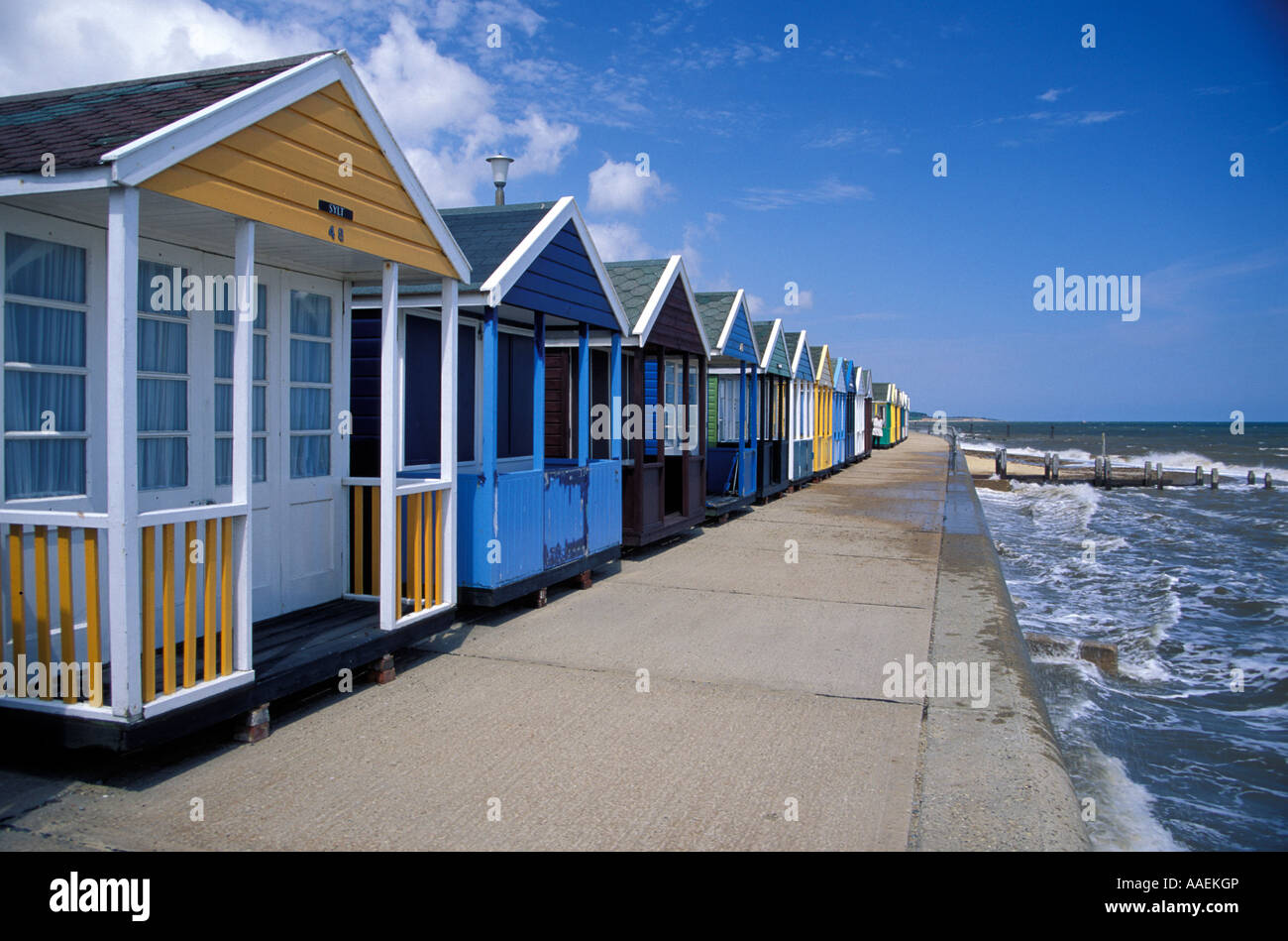 Beach huts Southwold Suffolk England United Kingdom - Stock Image