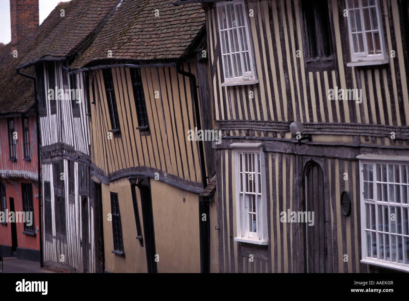 Half timbered houses Lavenham Suffolk England United Kingdom Stock Photo