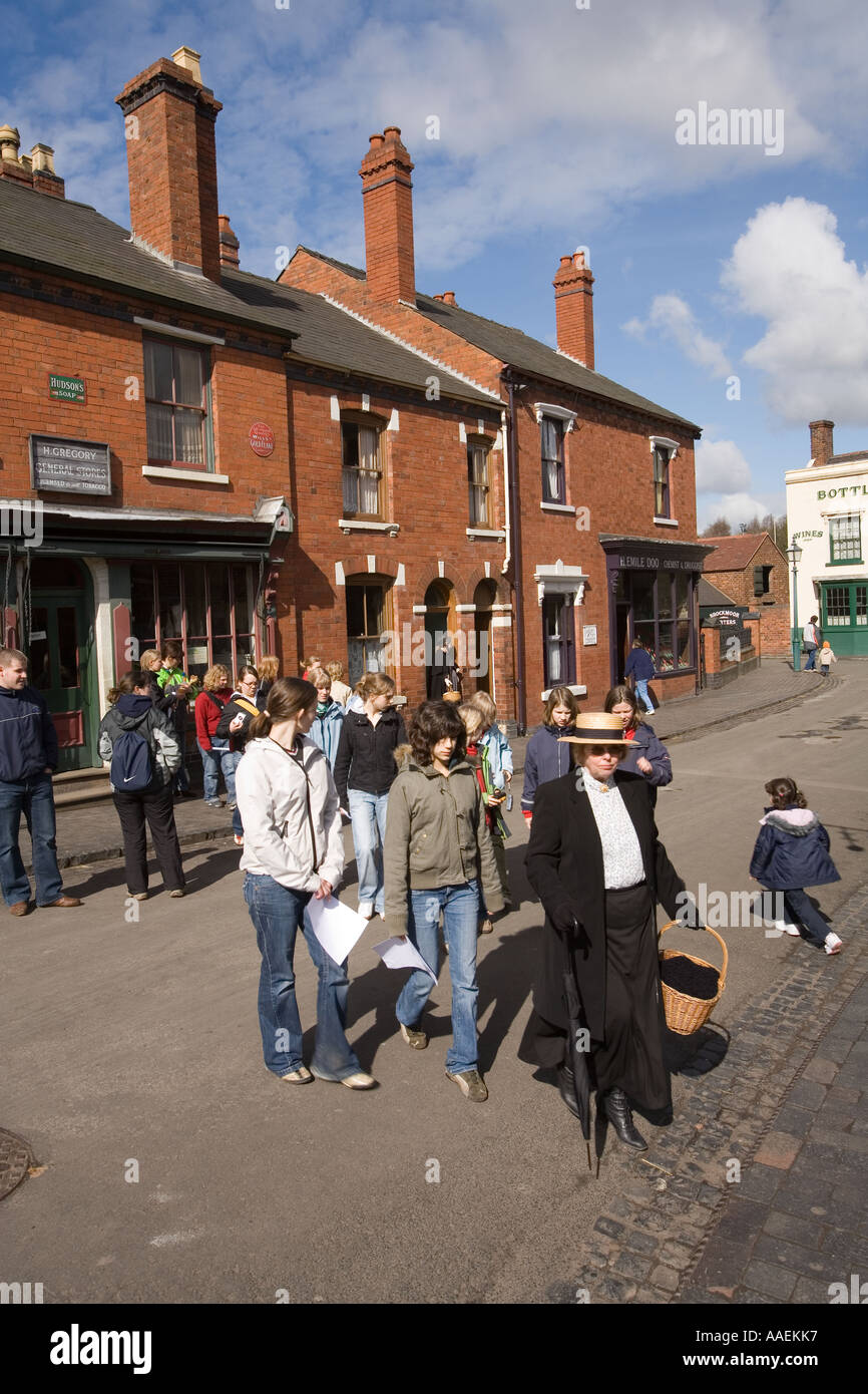 UK England West Midlands Dudley Black Country Museum group of schoolchildren in the street - Stock Image