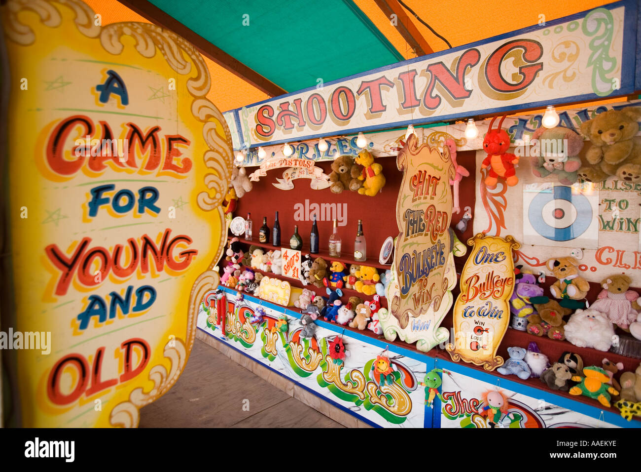 UK England West Midlands Dudley Black Country Museum funfair darts game - Stock Image