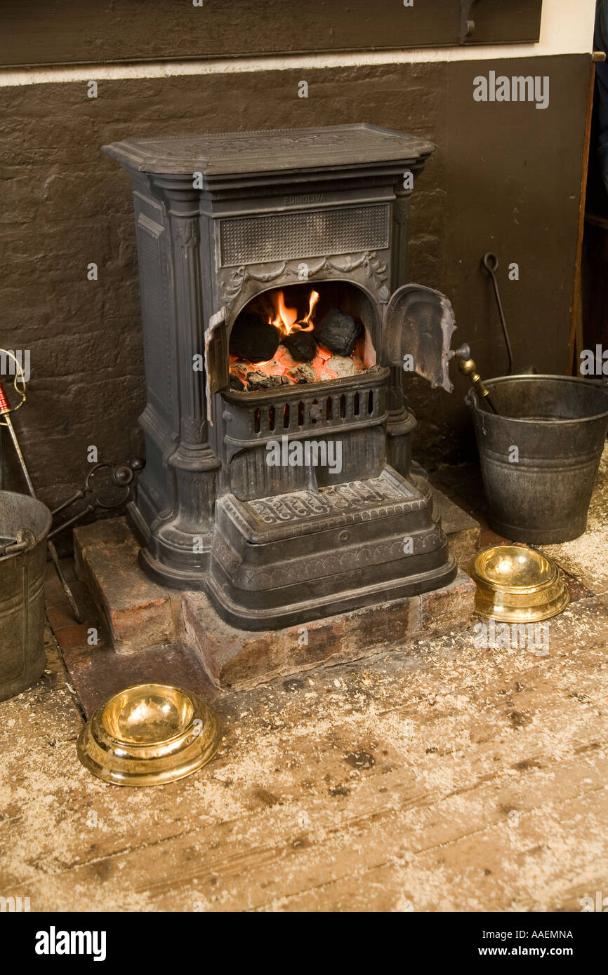 UK England West Midlands Dudley Black Country Museum Bottle and Glass pub iron stove - Stock Image