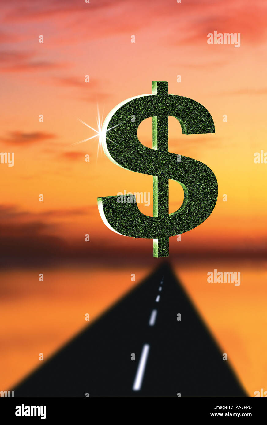 Dollar sign Road to riches and wealth - Stock Image