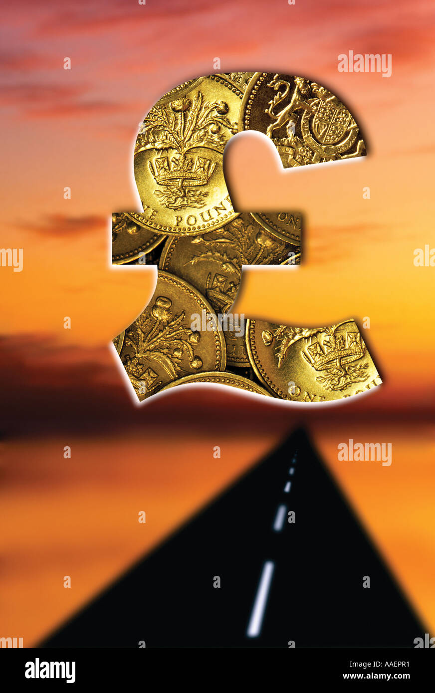 Pound coin sign Road to riches - Stock Image