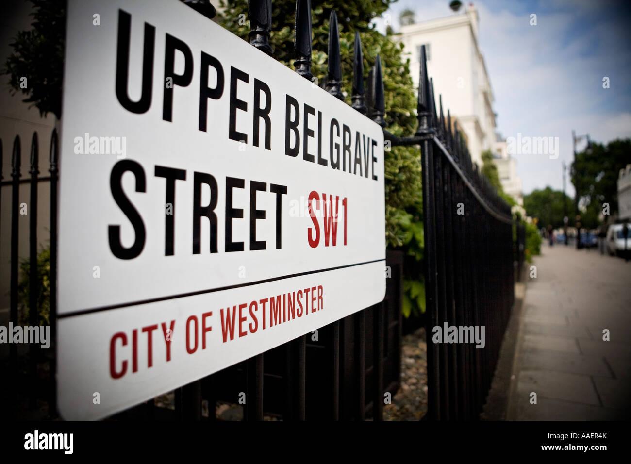 Upper Belgrave Belgravia exclusive area of London SW1 - Stock Image