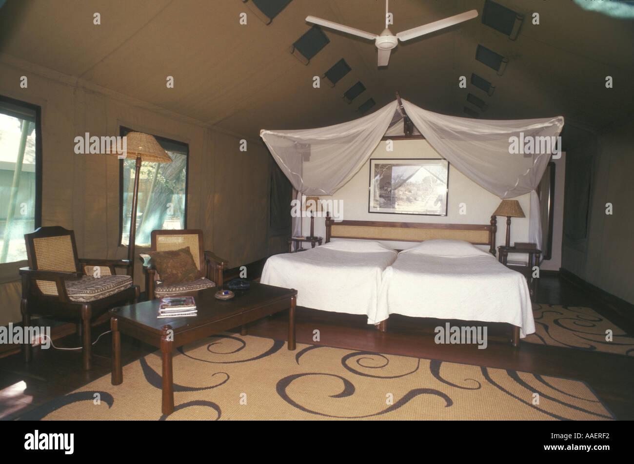 Tent interior Savuti Elephant Camp Okavango Delta Botswana southern Africa - Stock Image