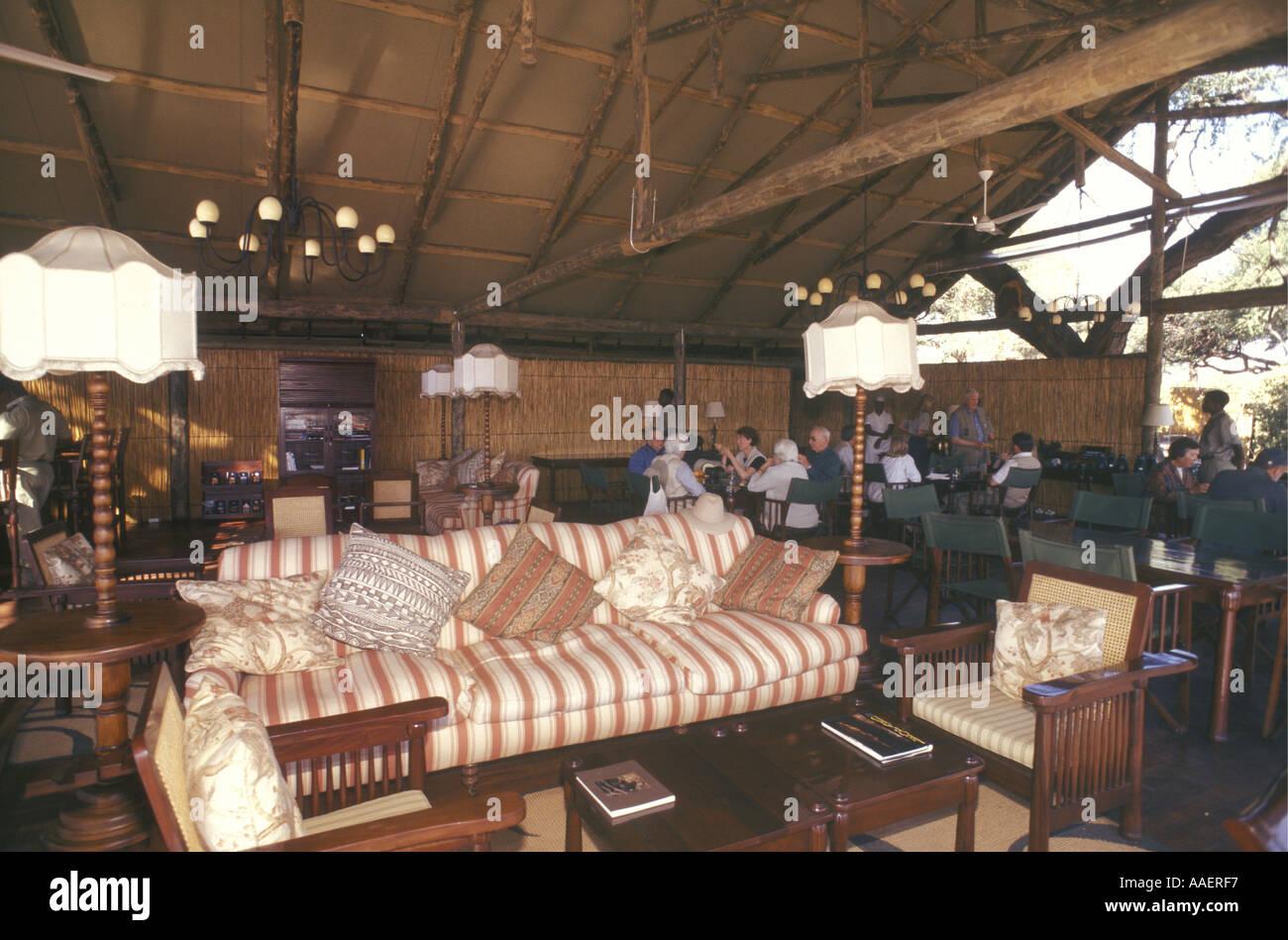 Dining and lounge area Savuti Elephant Camp Okavango Delta Botswana southern Africa - Stock Image