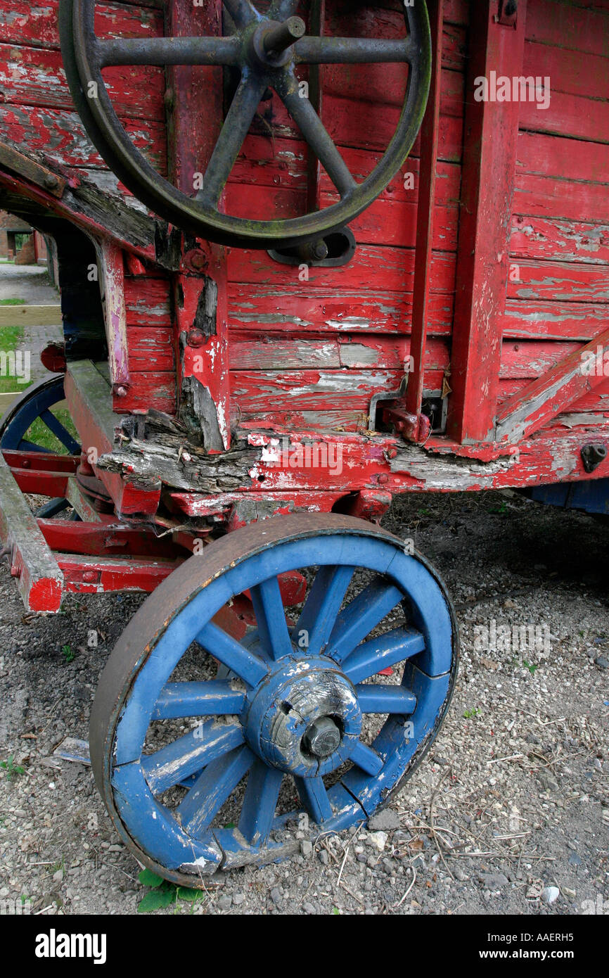 Wooden carriage at the Avoncroft Museum near Bromsgrove Worcestershire UK - Stock Image