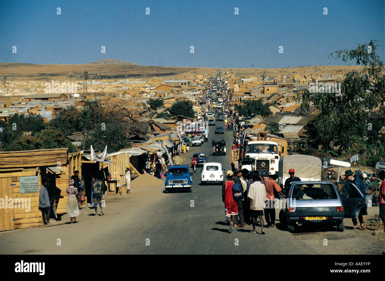 Sapphire mining boom town newly constructed 1998 and 1999 near Ranohira Southern Madagascar - Stock Image