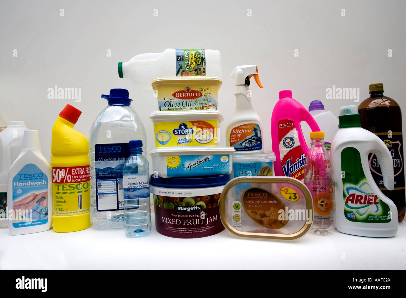 Variety of household items and food in plastic packaging for Where to buy cheap household items