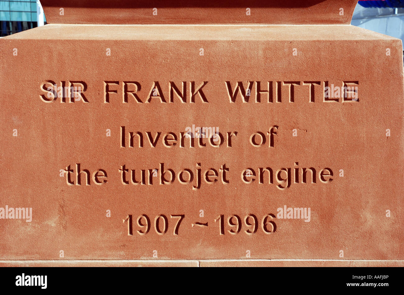 Inscription on Sir Frank Whittle statue, Millennium Place, Coventry, West Midlands, England, UK - Stock Image