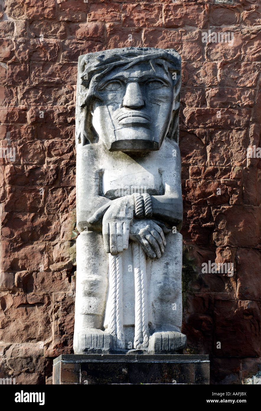 Jacob Epstein s Ecce Homo sculpture in Old Cathedral, Coventry, West Midlands, England, UK - Stock Image