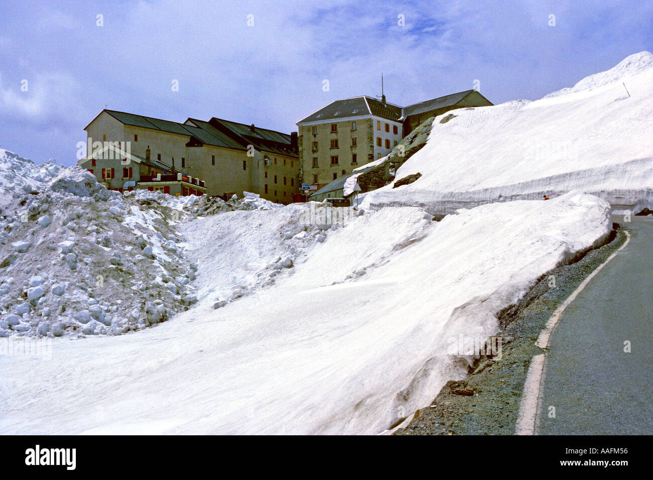 Hospice du Grand St Bernard at 2473m summit oldest pass between Martigny Valais Switzerland and Valle d Aosta Italy Stock Photo