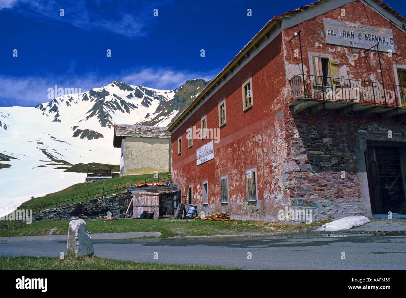 Buildings on Italian side of Grand St Bernard Pass JMH0632 - Stock Image