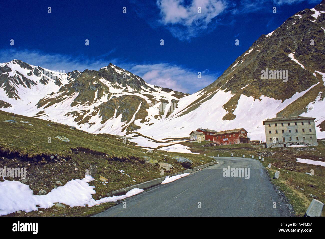 Buildings on Italian side of Grand St Bernard Pass JMH0633 - Stock Image