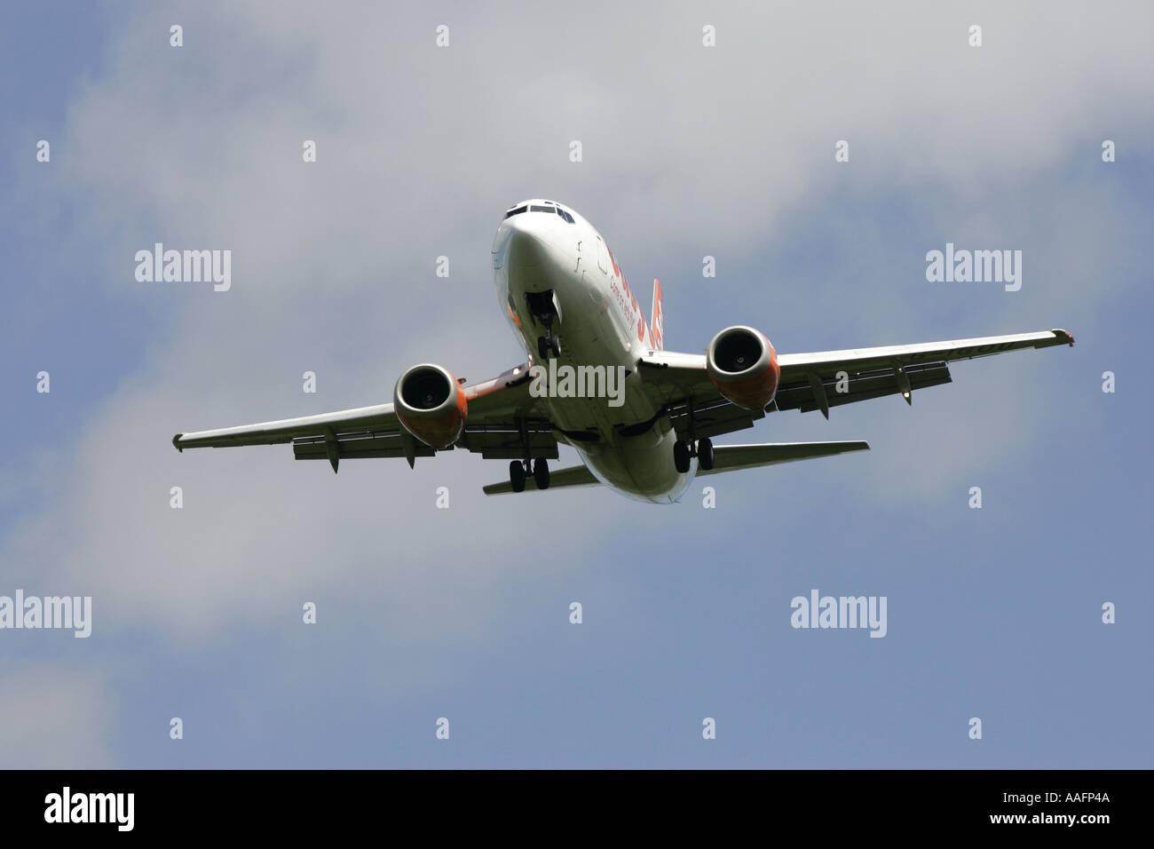 Easyjet Boeing 737 aircraft on approach belfast international airport aldergrove county antrim northern ireland - Stock Image