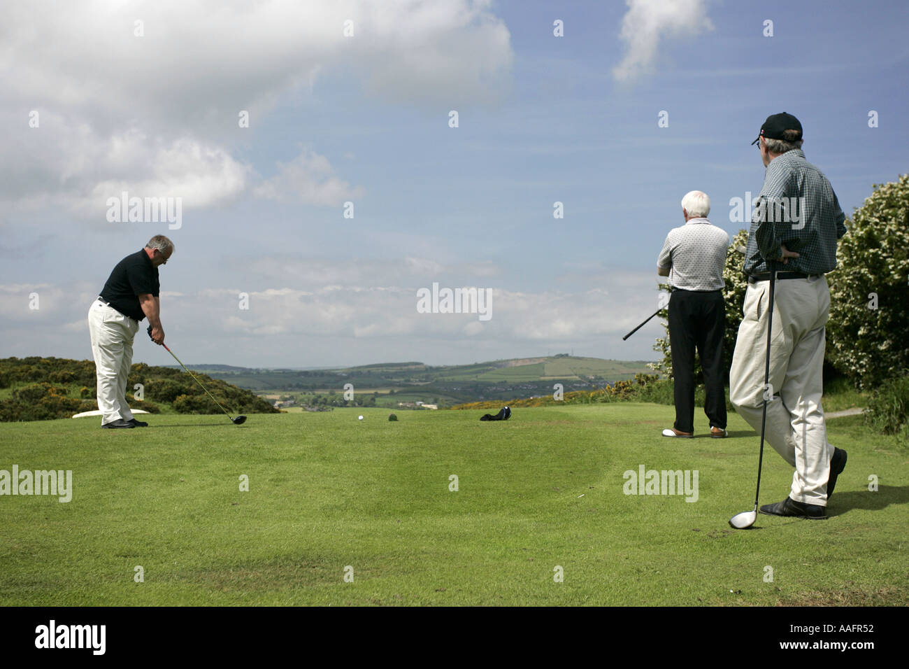 Golfers about to Tee off at Scrabo Golf Club Newtownards County Down Northern Ireland - Stock Image