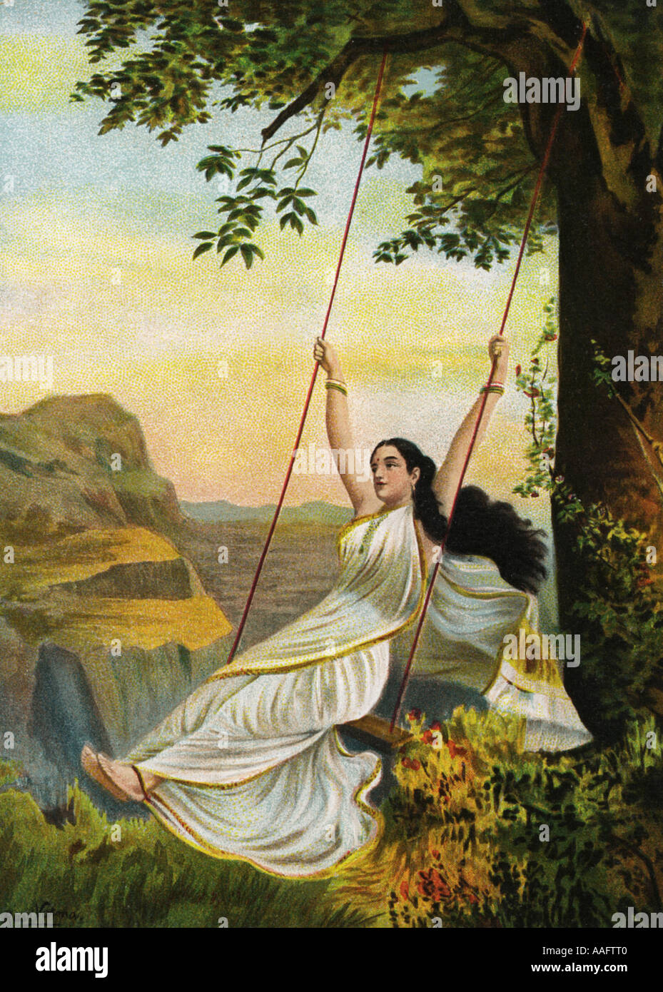 Indian painting illustration of Mohini the Goddess of Beauty sitting on a swing wearing a saree sari hairs flying India Asia - Stock Image